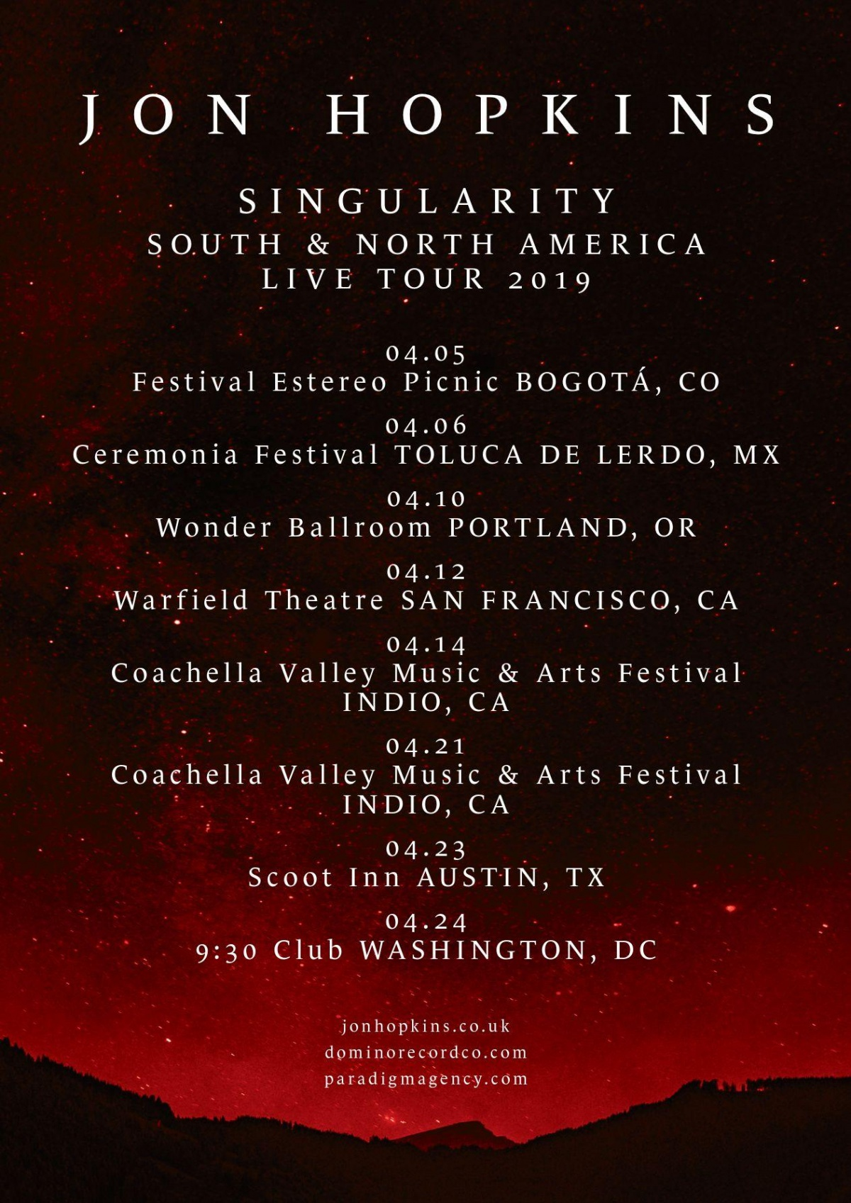 April tour dates for North and South America